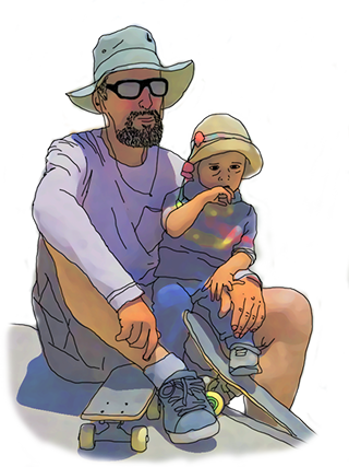 pierre and his son qori in the new skatepark of ayacucho.
